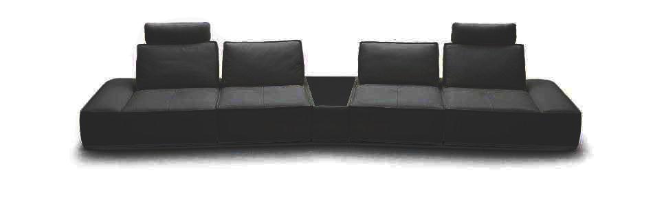 Divani Casa Orchid - Contemporary Black Italian Leather Sectional Sofa VGKK1323-LG-BLK