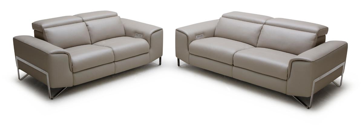 Divani Casa Begonia Modern Taupe Italian Leather Reclining Sofa Set