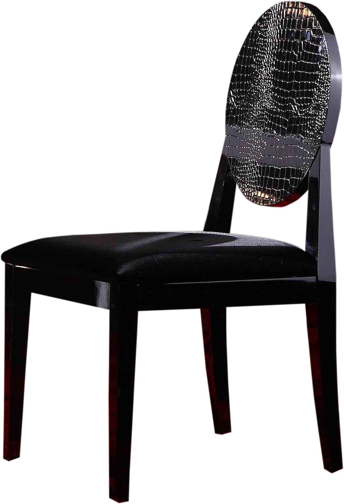AA018 Modern Black Crocodile Texture Dining Chair
