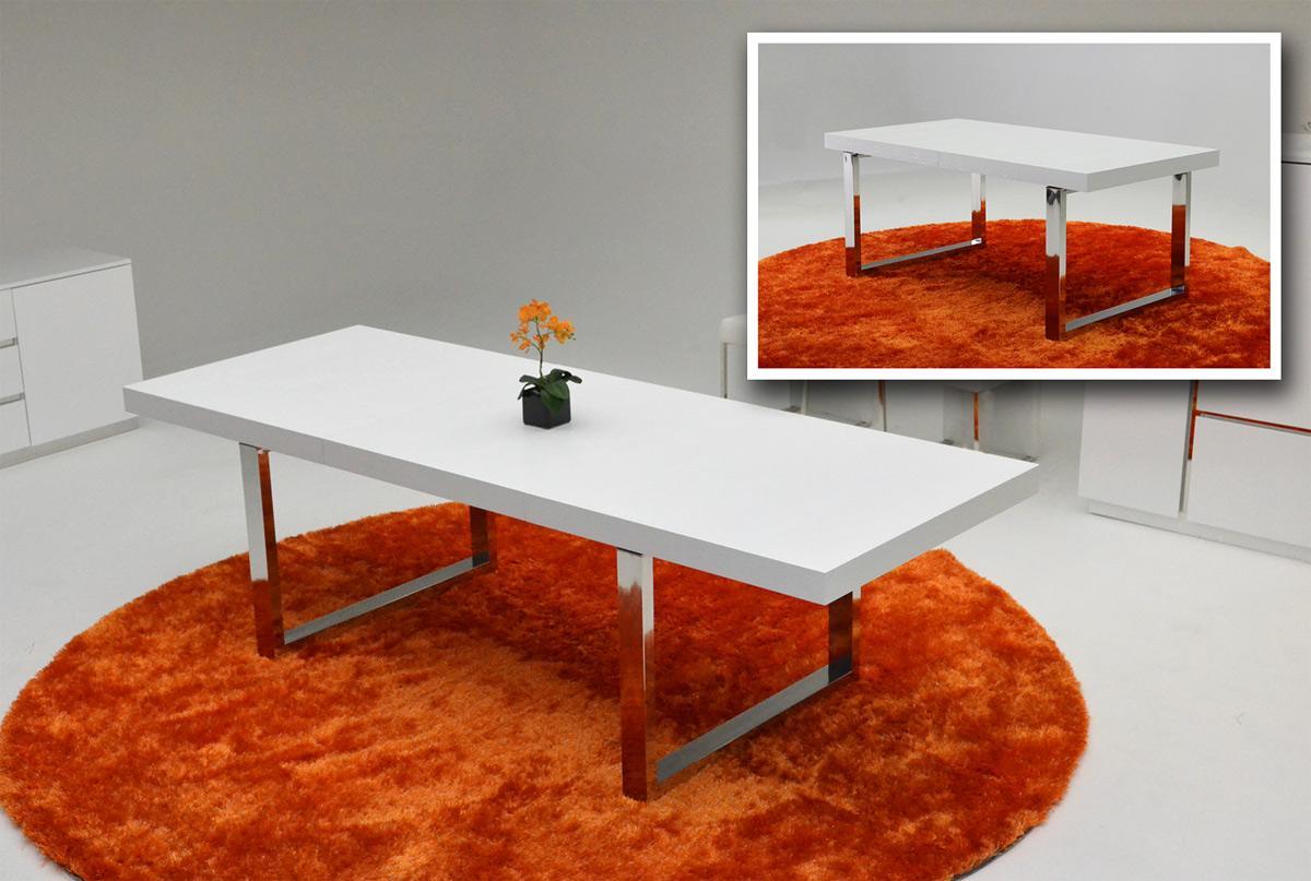 Skyline Modern Crocodile Extend-able White Dining Table