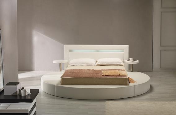 Palazzo White Leatherette Round Platform Bed