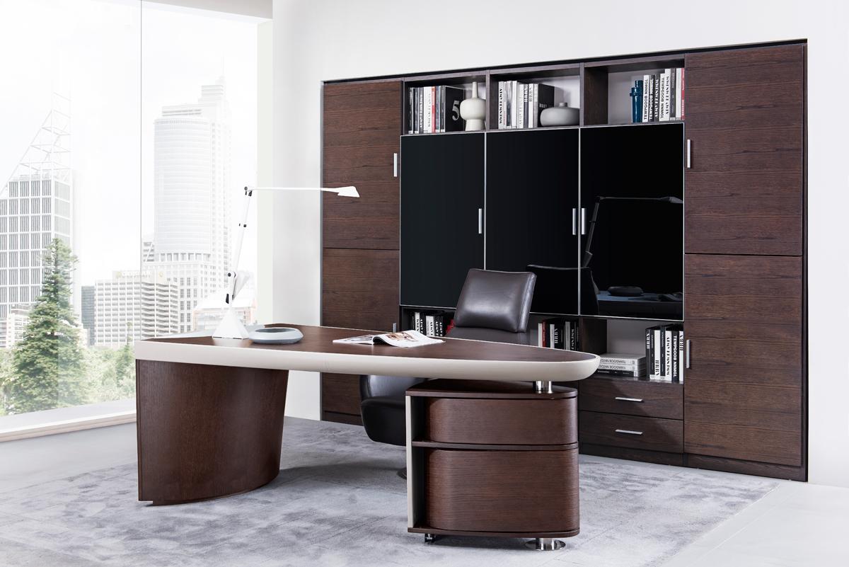 Modrest Nolan Modern Brown Oak & Grey Desk VGWCS6201