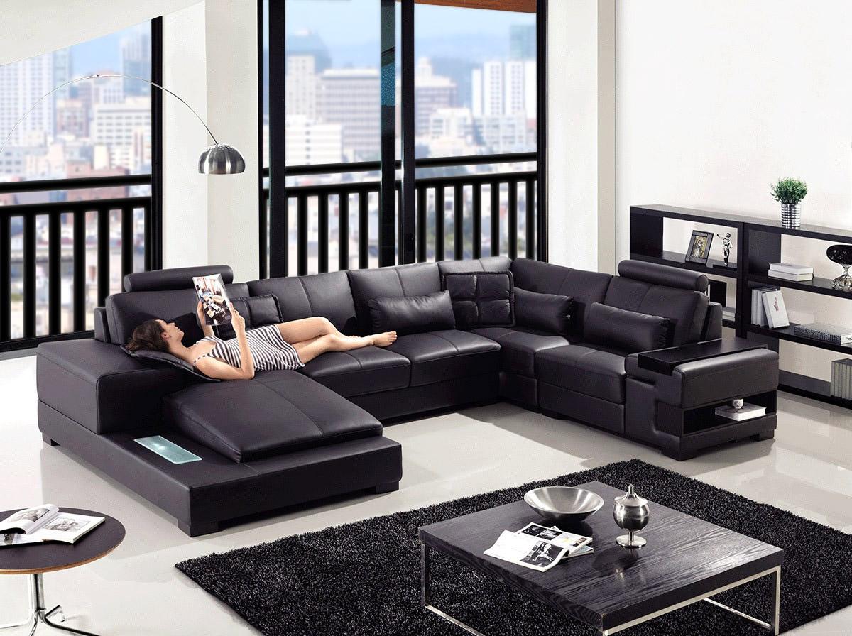 Diamond Modern Leather Sectional Sofa
