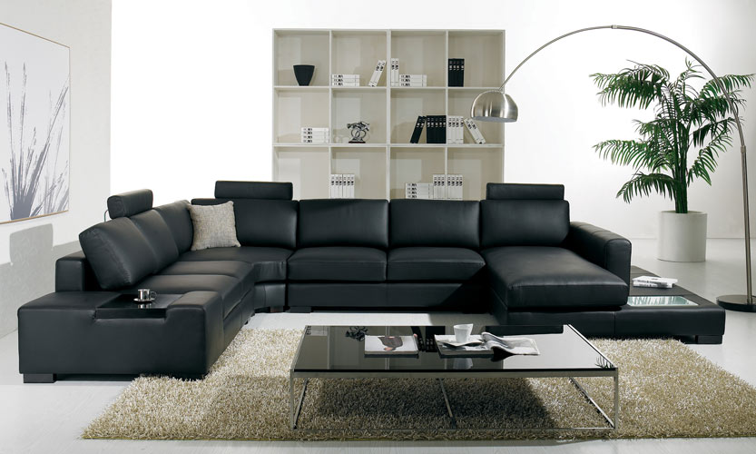 T35 Modern Black Sectional Sofa