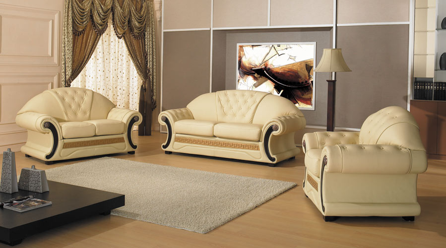 Cleopatra Traditional Leather Sofa Set