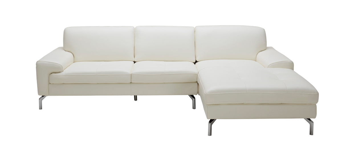 white leather sectional sofa w chaise tansy modern white leather