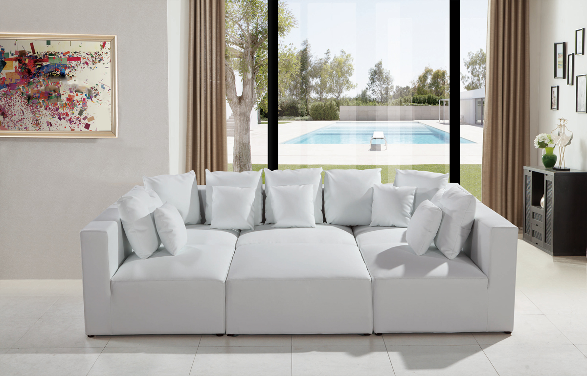 206 Modern White Leather Sectional Sofa