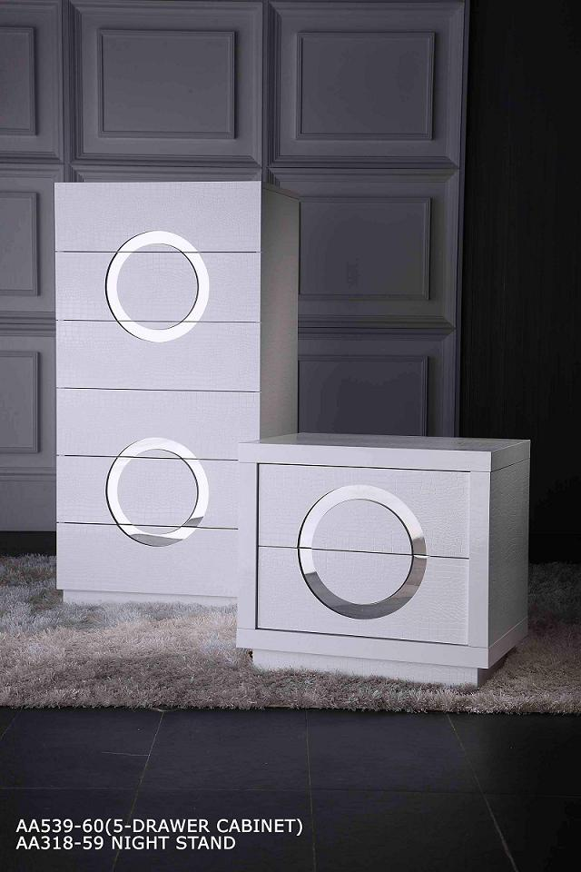 White Nightstand and Drawer Cabinet
