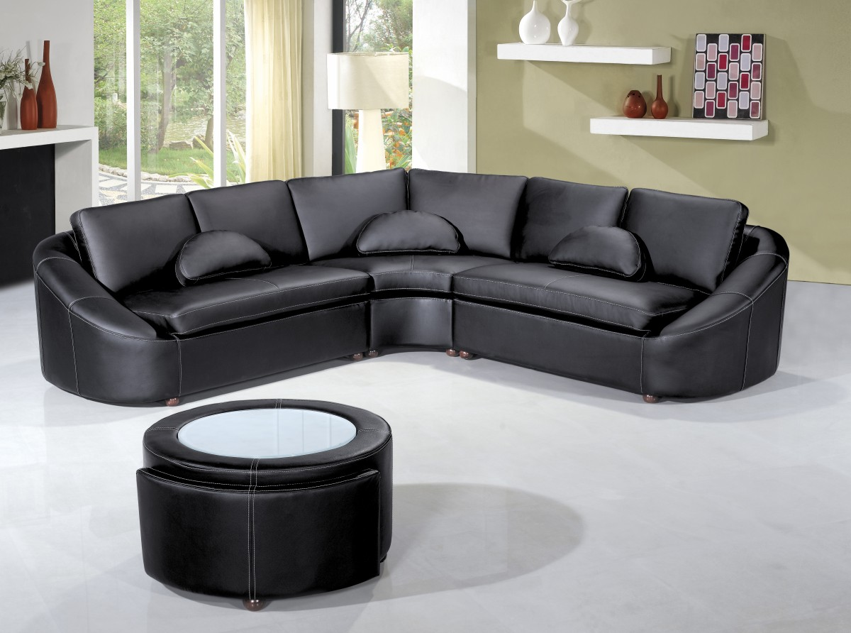 Groovy 2224 Modern Black Leather Sectional Sofa Pabps2019 Chair Design Images Pabps2019Com