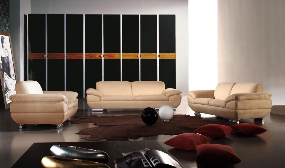Renava 269 Microfiber Sofa Set in Cream