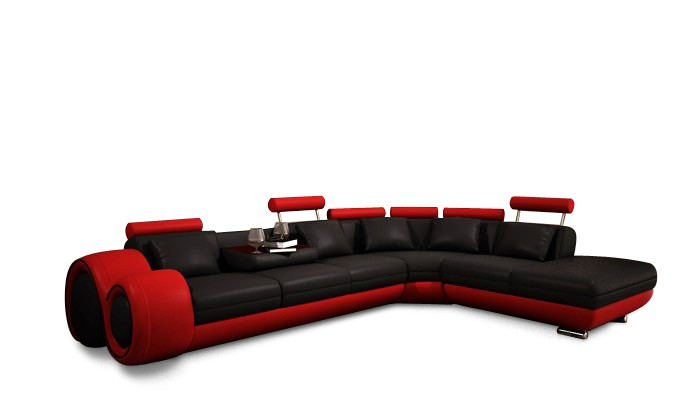 4086 Modern Leather Sectional Sofa