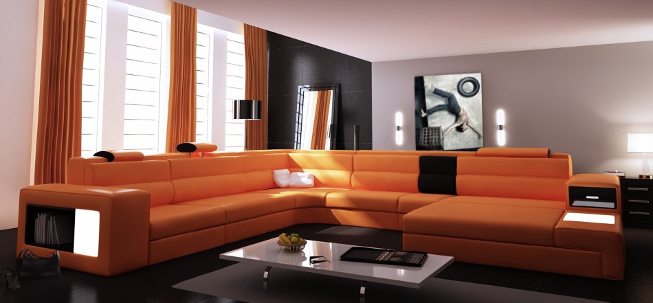 contemporary leather sectional sofa 5022 orange and black combination