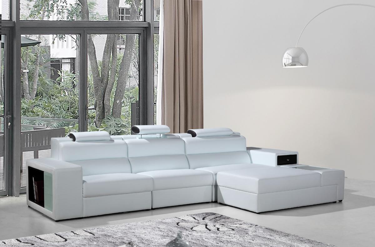 Polaris Mini White Bonded Leather Sectional Sofa