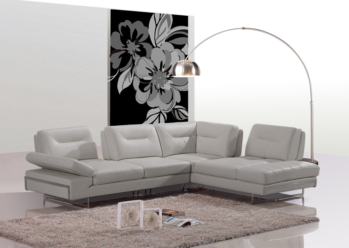 Carmel Modern Taupe Italian Leather Sectional Sofa w/ Adjustable Backrests