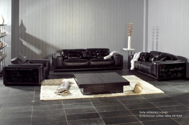 Armani Xavira AX001 Modern Black Leather Sofa Set