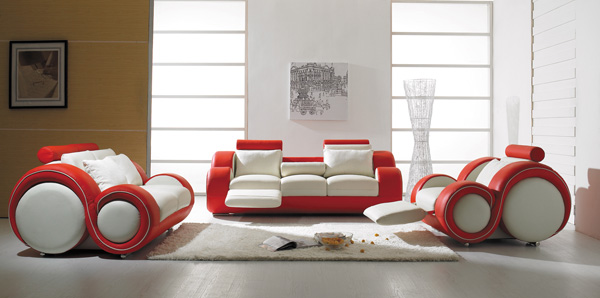 T 27 White and Red Leather Sofa Set