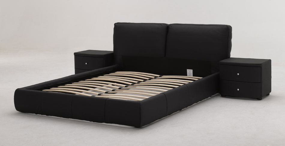 B88 Black Full Leather Bed with Drawers