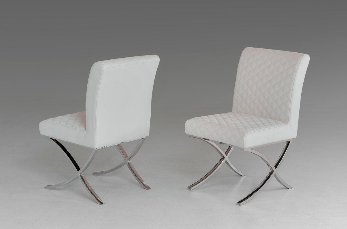 Adderley Modern White Leatherette Dining Chair (set Of 2)