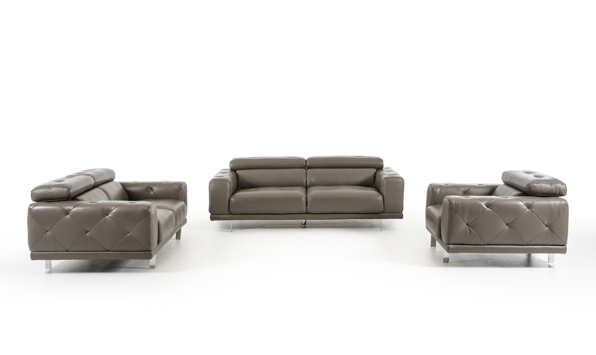 Divani Casa Albury Modern Dark Grey Leather Sofa Set