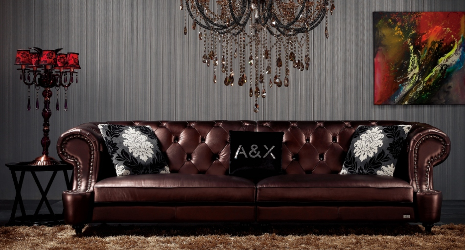 AX029 Chesterfield Brown Leather 4-Seater Sofa