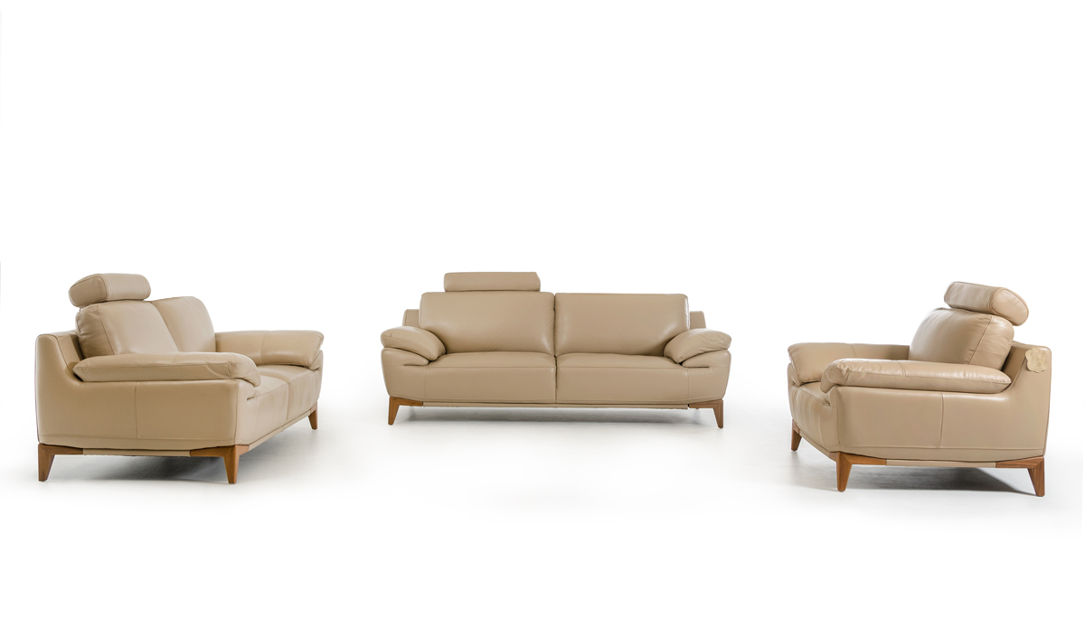 Divani Casa Bandon Mid-Century Taupe Leather Sofa Set