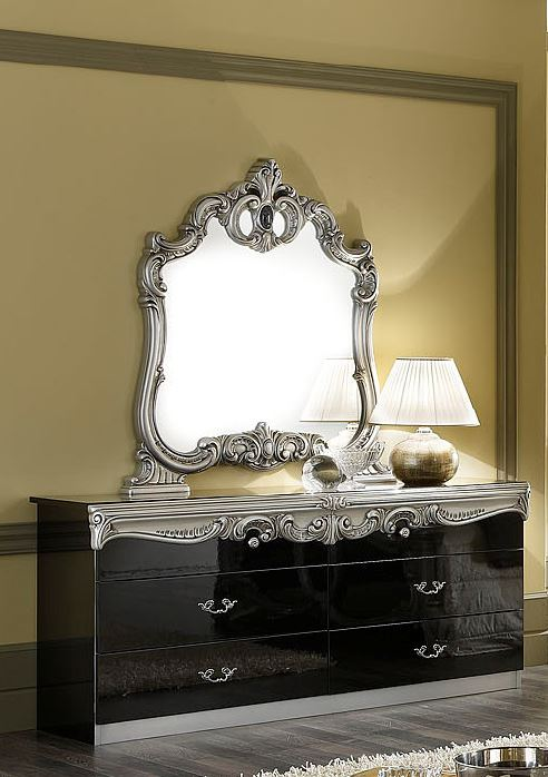 Barocco Traditional Glossy Black Double Dresser