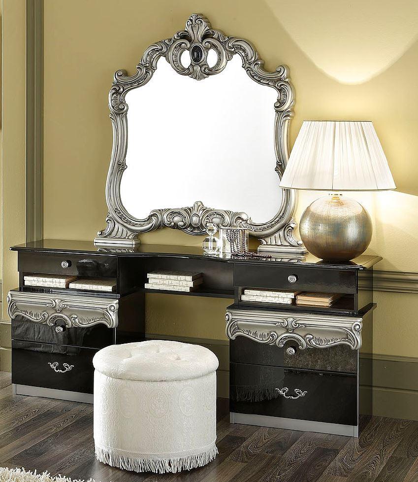 Barocco Modern Glossy Black Vanity Dresser