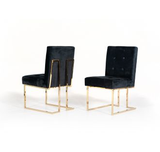 Modrest Legend Modern Black & Gold Dining Chair (Set of 2)