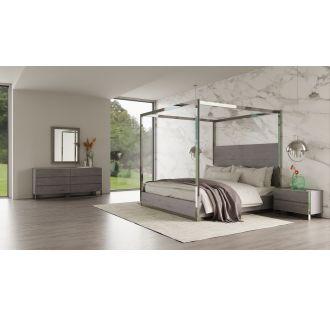Modrest Arlene Modern Grey Elm & Stainless Steel Bedroom Set