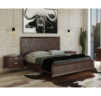 Modrest Shane - Modern Acacia & Brass Bed