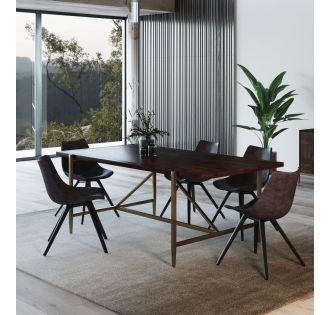 Modrest Shane - Modern Acacia & Brass Dining Table