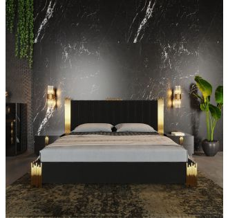 Modrest Token Modern Black & Gold Bed