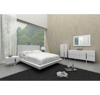 Voco Modern White Leather Pattern Headboard Bed