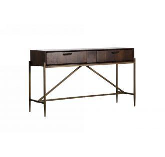 Modrest Shane - Modern Acacia & Brass Console Table
