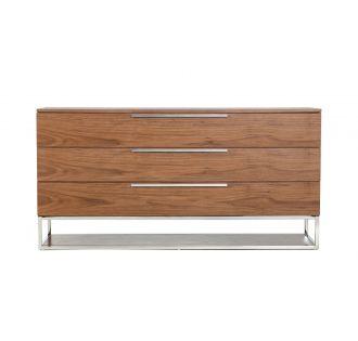 Modrest Heloise - Contemporary Walnut & Stainless Steel Dresser