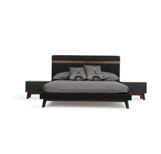 Nova Domus Dali Mid-Century Grey Fabric & Walnut Bed