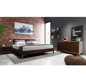 Nova Domus Conner Modern Dark Walnut & Faux Concrete Bedroom Set
