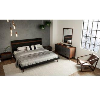 Nova Domus Dali Mid-Century Grey & Walnut Bedroom Set