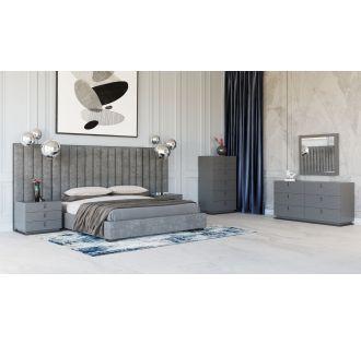 Modrest Buckley - Grey & Black Stainless Steel Bedroom Set