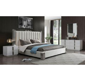 Modrest Token - Modern Cream & Stainless Steel Bed