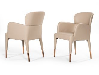 Modrest Ogden Modern Beige & Rosegold Dining Armchair