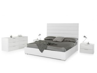Modrest Kasia Modern White Leatherette Bed