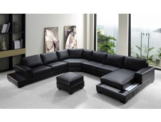 "Ritz Modern Black Leather ""U"" Shaped Sectional Sofa"