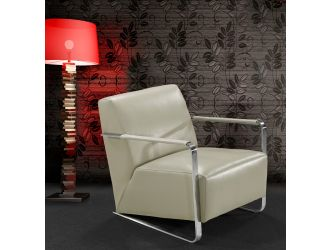 Bison Modern Grey Leather Lounge Chair
