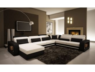 1005C Contemporary Black and White Leather Sectional Sofa