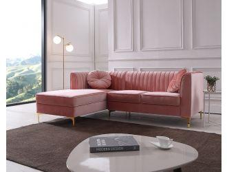 Divani Casa - Rachel Modern Pink Velvet Left Facing Sectional Sofa