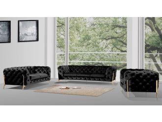 Divani Casa Sheila Modern Black Velvet Sofa Set