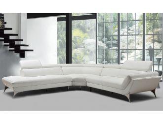 Divani Casa Graphite - Modern White Leather Left Facing Sectional Sofa