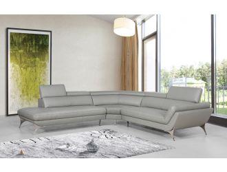 Divani Casa Graphite - Modern Grey Leather Left Facing Sectional Sofa