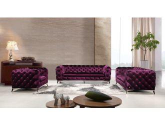 Divani Casa Delilah Modern Purple Fabric Sofa Set